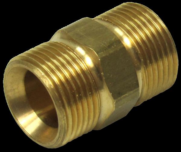 Doppelnippel AG M22x1,5 auf AG M22x1,5, Messing
